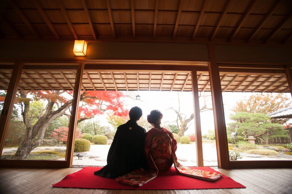 紅葉、日本庭園、邸宅ウエディング